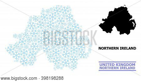 Vector Composition Map Of Northern Ireland Created For New Year, Christmas Celebration, And Winter.