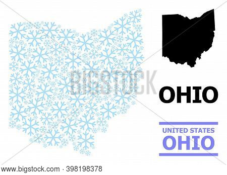Vector Mosaic Map Of Ohio State Designed For New Year, Christmas Celebration, And Winter. Mosaic Map