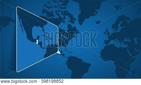 Location Of Guatemala On The World Map With Enlarged Map Of Guatemala With Flag. Geographical Vector