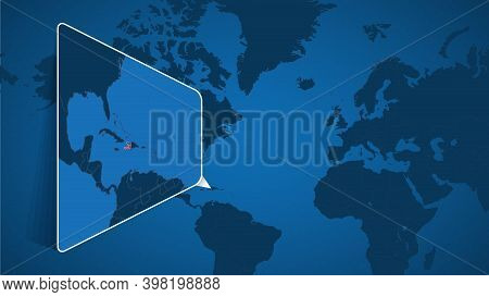 Location Of Haiti On The World Map With Enlarged Map Of Haiti With Flag. Geographical Vector Templat