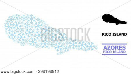 Vector Mosaic Map Of Pico Island Created For New Year, Christmas Celebration, And Winter. Mosaic Map