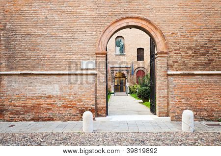 Brick Enceinte And Ache Gate In Medieval Town