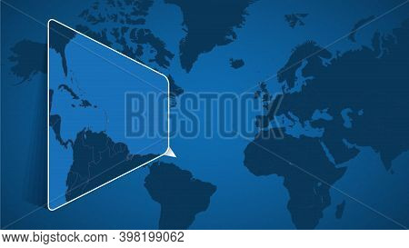 Location Of Barbados On The World Map With Enlarged Map Of Barbados With Flag. Geographical Vector T
