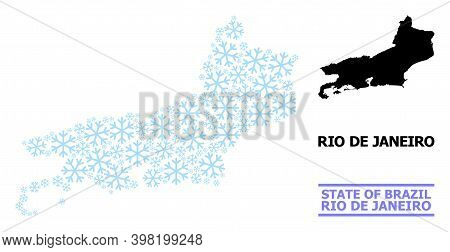 Vector Mosaic Map Of Rio De Janeiro State Constructed For New Year, Christmas Celebration, And Winte