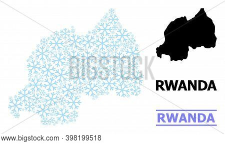 Vector Mosaic Map Of Rwanda Created For New Year, Christmas Celebration, And Winter. Mosaic Map Of R