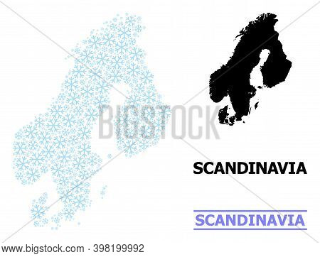 Vector Mosaic Map Of Scandinavia Done For New Year, Christmas Celebration, And Winter. Mosaic Map Of