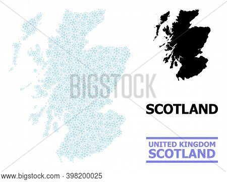 Vector Mosaic Map Of Scotland Designed For New Year, Christmas Celebration, And Winter. Mosaic Map O