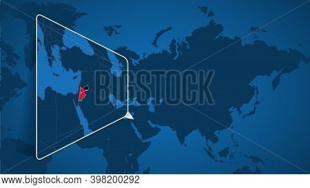 Location Of Jordan On The World Map With Enlarged Map Of Jordan With Flag. Geographical Vector Templ