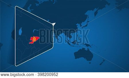 Location Of Kyrgyzstan On The World Map With Enlarged Map Of Kyrgyzstan With Flag. Geographical Vect
