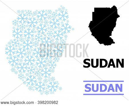 Vector Mosaic Map Of Sudan Created For New Year, Christmas Celebration, And Winter. Mosaic Map Of Su