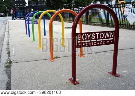Chicago, Il August 3rd, 2020, Rainbow Colored Bike Racks In Chicago\'s Boystown (now Northalsted) Ne