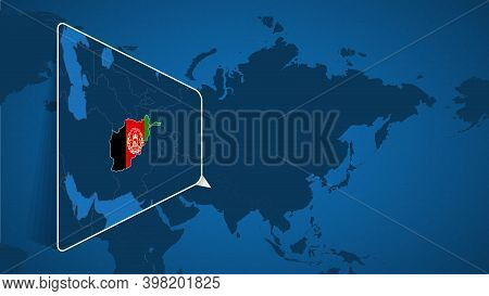 Location Of Afghanistan On The World Map With Enlarged Map Of Afghanistan With Flag. Geographical Ve