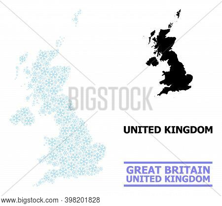 Vector Composition Map Of United Kingdom Done For New Year, Christmas Celebration, And Winter. Mosai