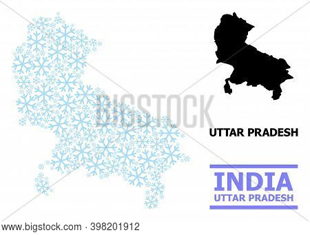 Vector Mosaic Map Of Uttar Pradesh State Combined For New Year, Christmas Celebration, And Winter. M