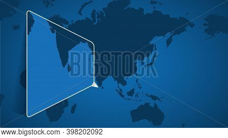Location Of Maldives On The World Map With Enlarged Map Of Maldives With Flag. Geographical Vector T