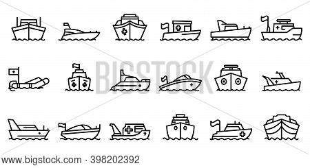 Rescue Boat Icons Set. Outline Set Of Rescue Boat Vector Icons For Web Design Isolated On White Back