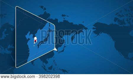 Location Of South Korea On The World Map With Enlarged Map Of South Korea With Flag. Geographical Ve