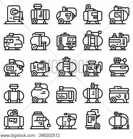 Compressor Icons Set. Outline Set Of Compressor Vector Icons For Web Design Isolated On White Backgr