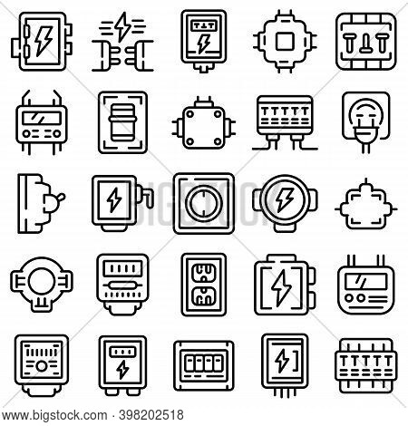 Junction Box Icons Set. Outline Set Of Junction Box Vector Icons For Web Design Isolated On White Ba