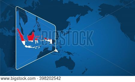 Location Of Indonesia On The World Map With Enlarged Map Of Indonesia With Flag. Geographical Vector