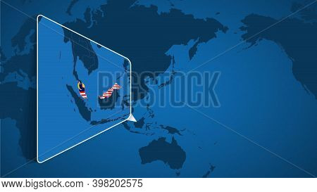 Location Of Malaysia On The World Map With Enlarged Map Of Malaysia With Flag. Geographical Vector T