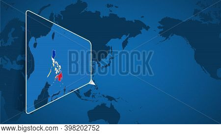 Location Of Philippines On The World Map With Enlarged Map Of Philippines With Flag. Geographical Ve