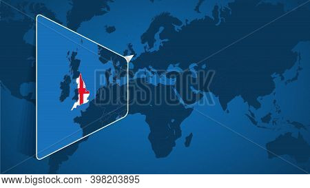 Location Of England On The World Map With Enlarged Map Of England With Flag. Geographical Vector Tem