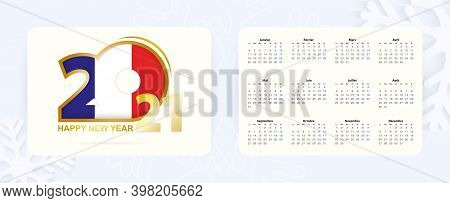 Horizontal Pocket Calendar 2021 In French Language. New Year 2021 Icon With Flag Of France. Vector C