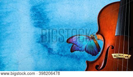 Violin On Blue Watercolor Background Closeup. Beautiful Blue Butterfly Morpho On Violin. Music Conce