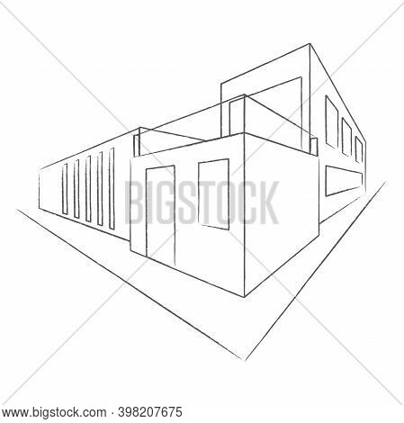 Architectural Plan Of A Modern House. Construction Perspective Architecture Designing Line Art Backg