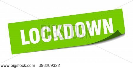 Lockdown Sticker. Square Isolated Label Sign. Peeler