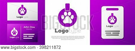 Logotype Collar With Name Tag Icon Isolated On White Background. Supplies For Domestic Animal. Dog O
