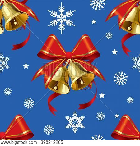 Christmas Bell with Red Bow. Christmas seamless background.
