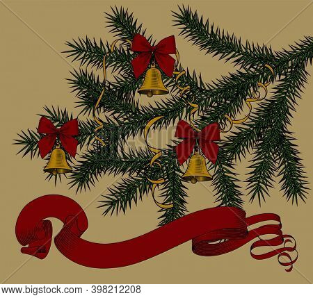 Baner with spruce branch and christmas bells