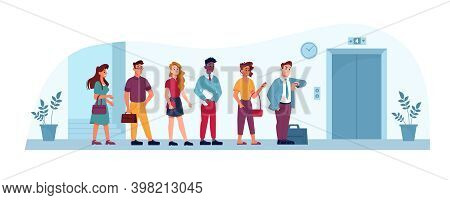 Queue To Elevator In Office, People Waiting In Line In Public Place, Flat Illustration. Business Cen