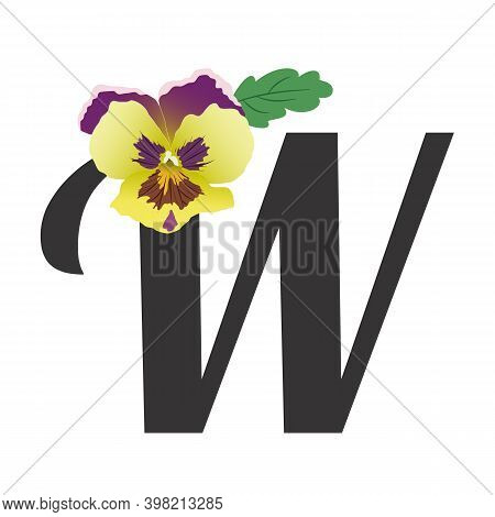 Pansy Flower Bud With A Leaf Paired With A Black Letter W. Vector, Gradients Of Green-yellow And Lil