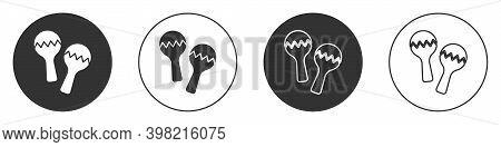 Black Maracas Icon Isolated On White Background. Music Maracas Instrument Mexico. Circle Button. Vec