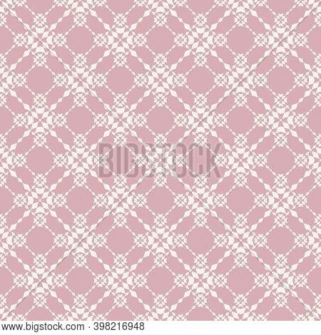 Floral Grid Seamless Pattern. Abstract Pink Geometric Texture. Simple Vector Ornament With Floral Sh