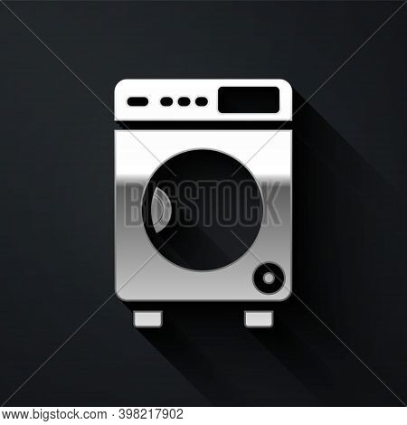 Silver Washer Icon Isolated On Black Background. Washing Machine Icon. Clothes Washer - Laundry Mach
