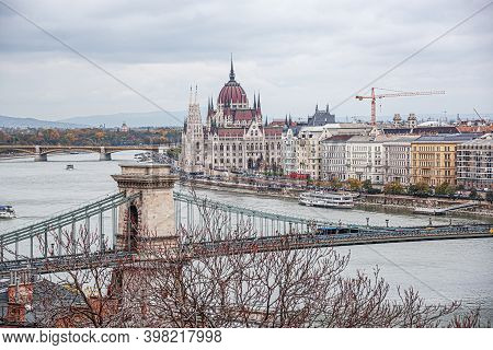 Budapest, Hungary - October 28, 2017: View Of The City Of Budapest From Above In Autumn, In Budapest