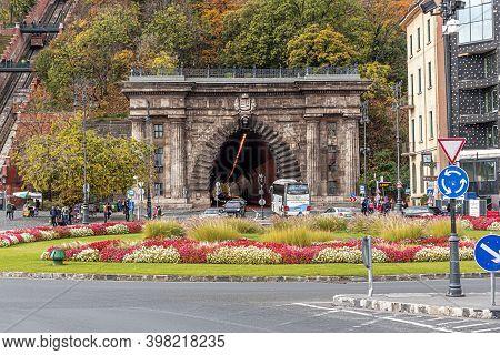 Budapest, Hungary - October 28, 2017: Adam Clark Square In Autumn, In Budapest, Hungary.