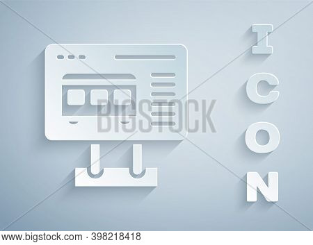 Paper Cut Ticket Office To Buy Tickets For Train Or Plane Icon Isolated On Grey Background. Buying T