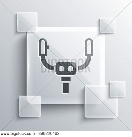 Grey Aircraft Steering Helm Icon Isolated On Grey Background. Aircraft Control Wheel. Square Glass P