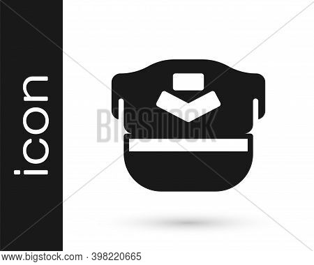 Black Pilot Hat Icon Isolated On White Background. Vector