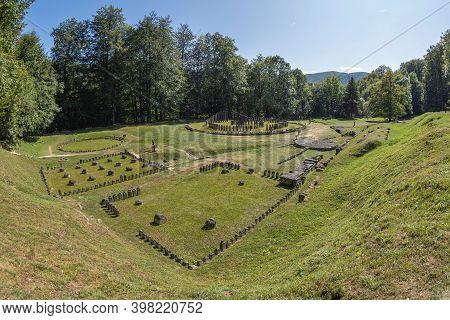 Gradistea De Munte, Hunedoara County, Romania - September 22, 2020: Ancient Dacian Sanctuary At The
