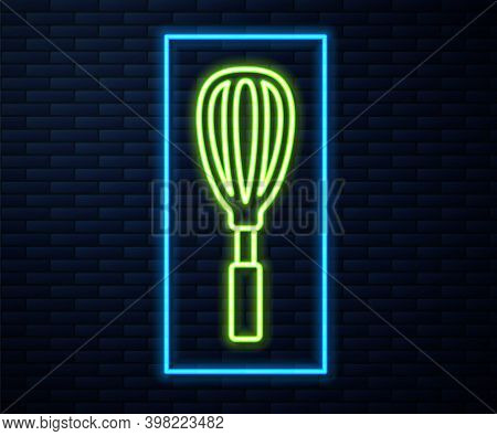 Glowing Neon Line Kitchen Whisk Icon Isolated On Brick Wall Background. Cooking Utensil, Egg Beater.