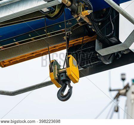 Lifting Hook On An Industrial Heavy Lift Crane.