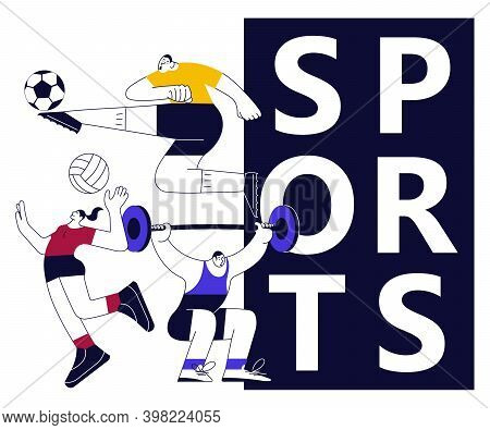 Colorful Sports Banner With Athletes. Football, Basketball And Weightlifting Isolated In Modern Outl