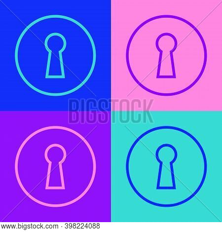 Pop Art Line Keyhole Icon Isolated On Color Background. Key Of Success Solution. Keyhole Express The