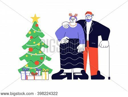 Couple Of Elderly People Are Hugging Standing Together Near Christmas Tree Vector Portrait. Merry Ch